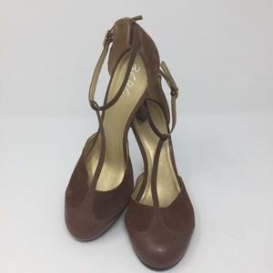 BCBG leather and suede brown t strap stiletto pump